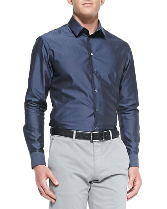 Pin-Dot Woven Dress Shirt