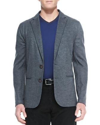 Peak-Lapel Soft Jacket, Gray