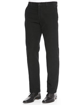 Fine-Wale Corduroy Trousers, Black