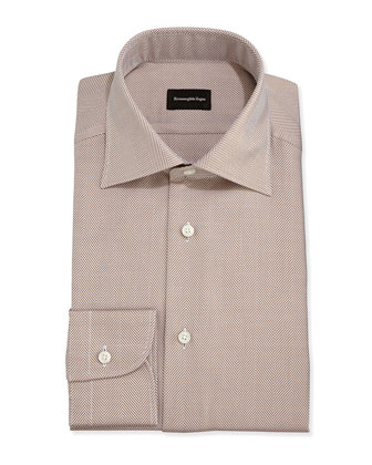 Herringbone Twill Dress Shirt, Brown