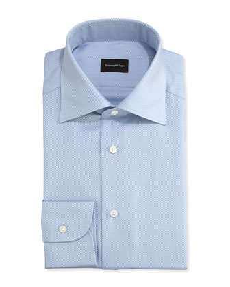 Herringbone Twill Dress Shirt, Blue