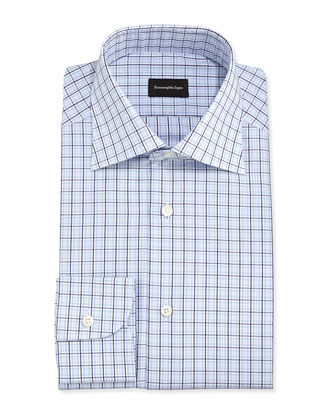 Check Poplin Dress Shirt, Blue/Gray