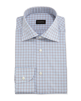 Woven Plaid Dress Shirt, Light Blue/Gray