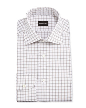 Big Box Check Woven Dress Shirt, White/Brown
