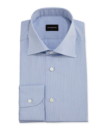 Striped Dress Shirt, Light Blue/Brown