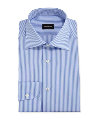 Striped Dress Shirt, Blue on Blue