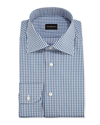 Shadow-Check Dress Shirt, Teal/Charcoal