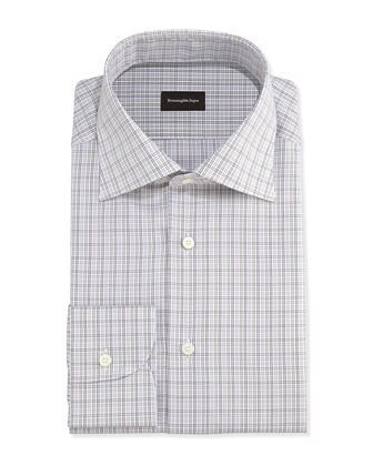 Woven Check Dress Shirt, Brown/Gray