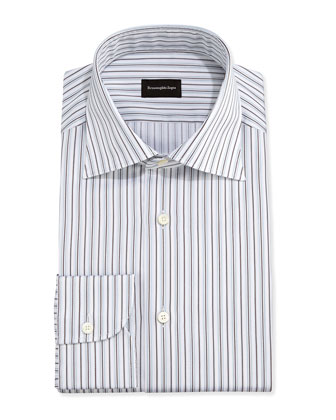 Textured-Stripe Dress Shirt, Light Blue/Brown