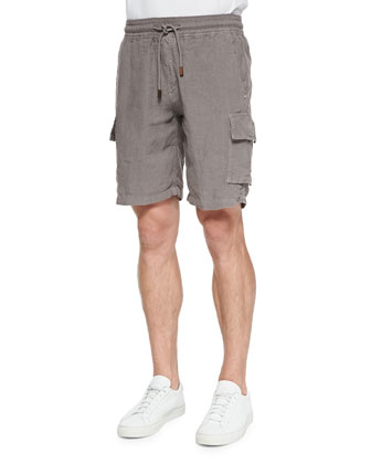 Linen Cargo Shorts, Med Brown