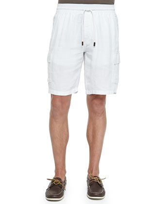WHITE SOLID LINEN SHORTS