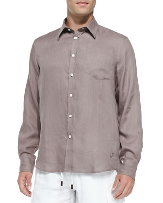 Linen Long-Sleeve Shirt, Medium Brown