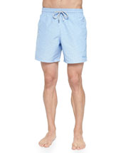 Moorio Micro-Gingham Swim Trunks, Blue