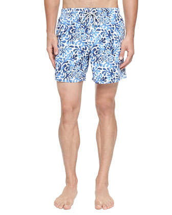 Moorea Seaweed-Print Swim Trunks, Blue