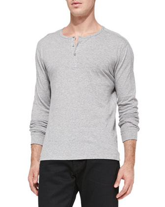 Jersey Long-Sleeve Henley, Heather Steel