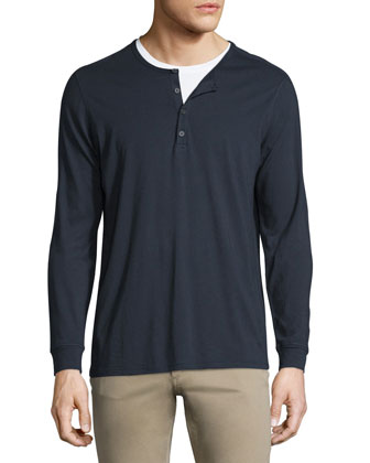 Long-Sleeve Jersey Henley, Coastal