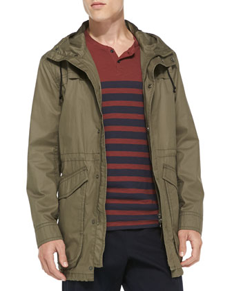 Waxed Cotton Anorak Jacket, Olive