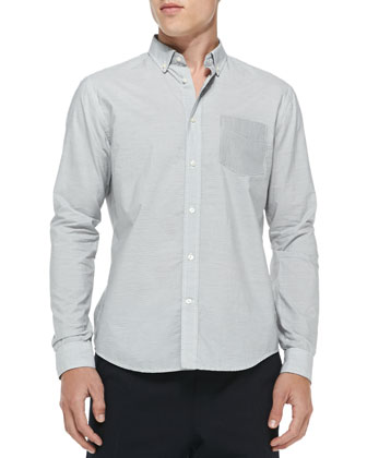 Button-Down Shirt with Contrast Pocket, Gray