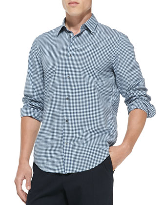 Gingham-Check Button-Down Shirt, Blue