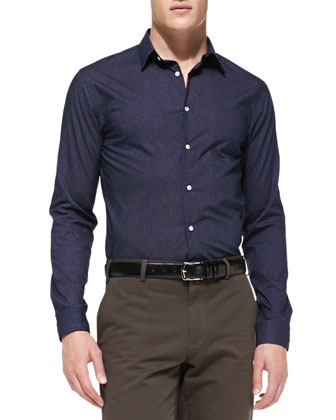 Micro-Geo-Print Button-Down Shirt
