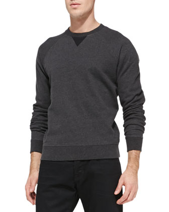 French Terry Crewneck Sweatshirt & Black-Rinse Selvedge Denim Jeans