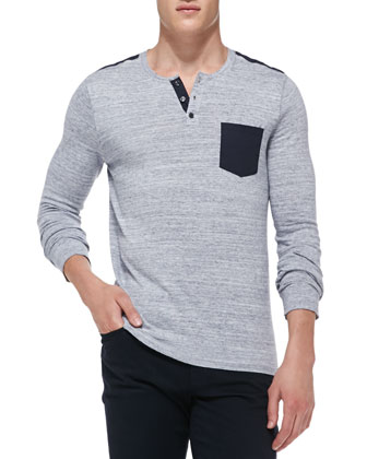 Heathered Knit Pocket Henley