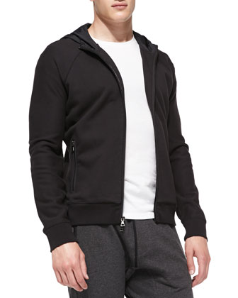 Jersey & Nylon Zip-Up Hoodie, Black