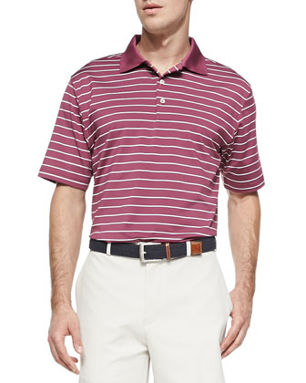 1/4-Striped Performance E4 Polo, Purple