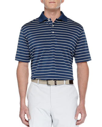 Quarter-Stripe Stretch-Knit Polo, Periwinkle