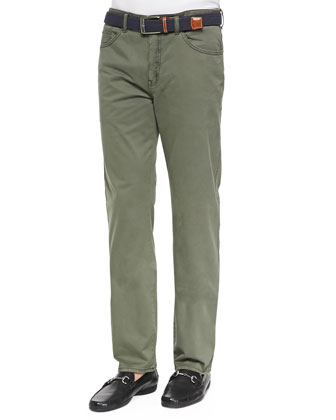 Satin-Stretch Five-Pocket Pants, Lime Green