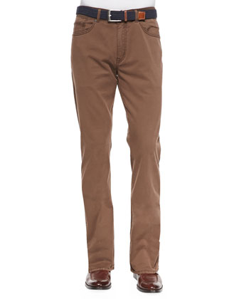Satin-Stretch Five-Pocket Pants, Brown