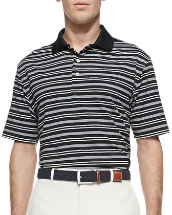 Ashe E4 Stripe Polo Shirt, Black