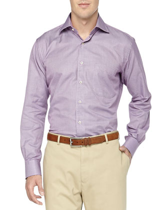 Long-Sleeve Mini Houndstooth Woven Shirt, Purple