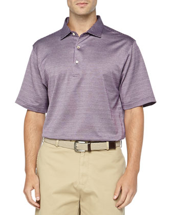 Jacquard Collection Short Sleeve Knit Polo, Purple