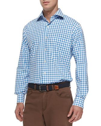 Windowpane-Check Woven Shirt, Blue