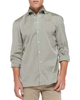 Solid Riva Woven Shirt, Sage Green
