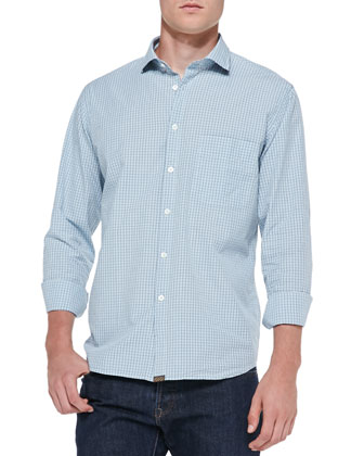 Tattersall-Check Woven Shirt, Light Blue