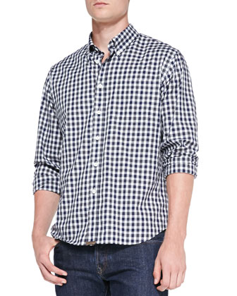 Tuscumbia Gingham Button-Down Shirt, Navy
