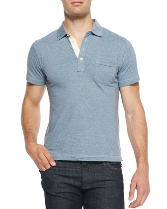 Pensacola Heathered Knit Jersey Polo, Royal