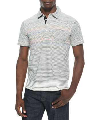 Multi-Striped Cotton Polo, Natural
