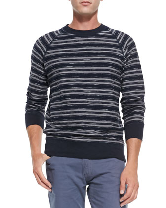 Elton Striped Crewneck Sweater, Navy/Black