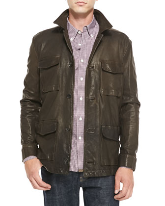 Leather Military-Inspired Field Jacket