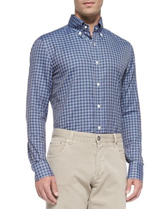 Cashmere Pin-Dot Cardigan, Check Button-Down Shirt & Straight-Leg Denim Jeans