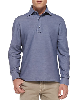 Pique Long-Sleeve Polo, Blue