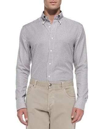 Tattersall Button-Down Shirt, White
