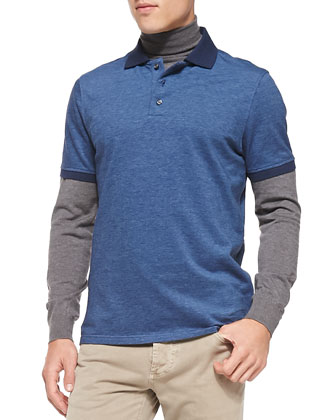 Melange-Knit Polo, Blue