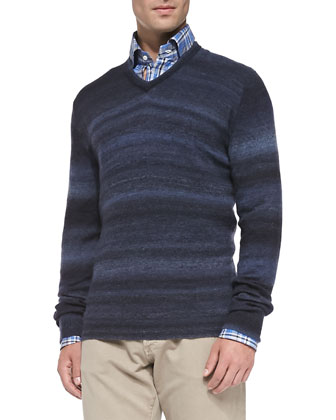 Cashmere Ombre-Stripe Sweater, Navy