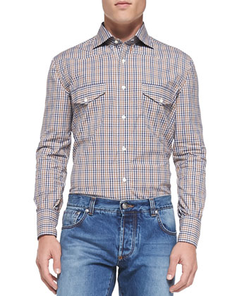 Double-Pocket Plaid Shirt, Blue