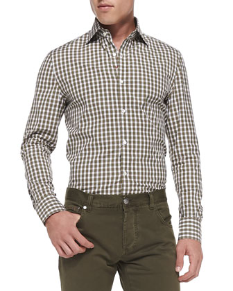 Box-Check Button-Down Shirt, Green