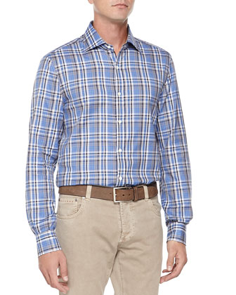 Large-Plaid Woven Shirt, Blue